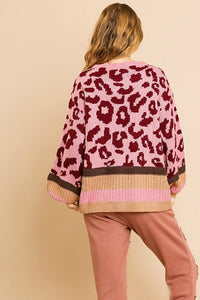 Umgee Rose Animal Print Sweater