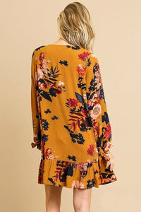 Mustard Floral Print Dress with Ruffle Hem and Sleeve Ties - June Adel