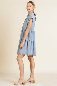 Umgee Light Denim Tiered Dress with Frayed Hem - June Adel