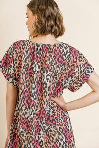 Umgee Multi-color Leopard Print Dress in Pink Mix - June Adel