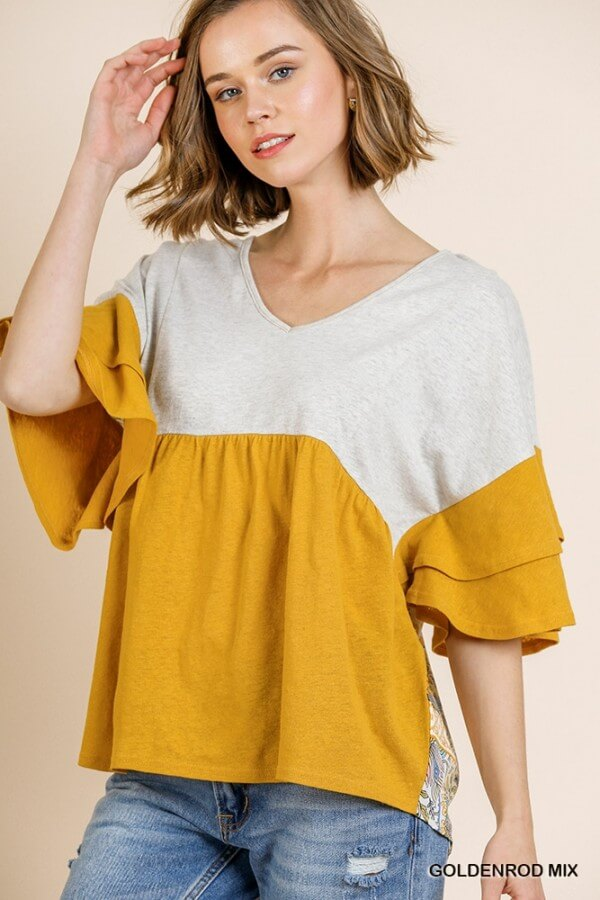 Umgee Color Block Top with Scarf Print Back in Goldenrod - June Adel