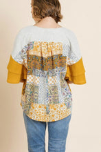 Load image into Gallery viewer, Umgee Color Block Top with Scarf Print Back in Goldenrod - June Adel
