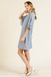 Umgee Blue Gray Dress with Lace Details - June Adel
