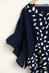 Umgee Dalmatian Printed Top in Navy with Ruffle Sleeves - June Adel