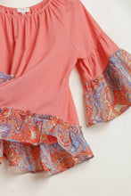 Load image into Gallery viewer, Umgee Linen Blend Top with Paisley Printed Sleeves in Cantaloupe - June Adel
