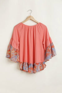 Umgee Linen Blend Top with Paisley Printed Sleeves in Cantaloupe - June Adel