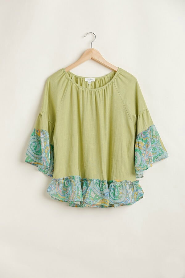 Umgee Linen Blend Top with Paisley Printed Sleeves in Kiwi - June Adel