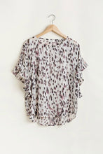 Load image into Gallery viewer, Umgee Animal Print Top with Metallic Threading and Ruffle Sleeves - June Adel