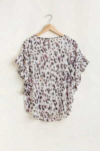 Umgee Animal Print Top with Metallic Threading and Ruffle Sleeves - June Adel