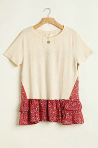 Umgee Cream Top with Floral and Animal Prints - June Adel