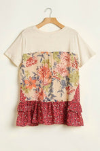 Load image into Gallery viewer, Umgee Cream Top with Floral and Animal Prints - June Adel