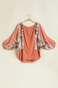 Umgee Floral and Polka Dot Printed Top in Soft Clay - June Adel