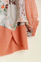 Load image into Gallery viewer, Umgee Floral and Polka Dot Printed Top in Soft Clay - June Adel