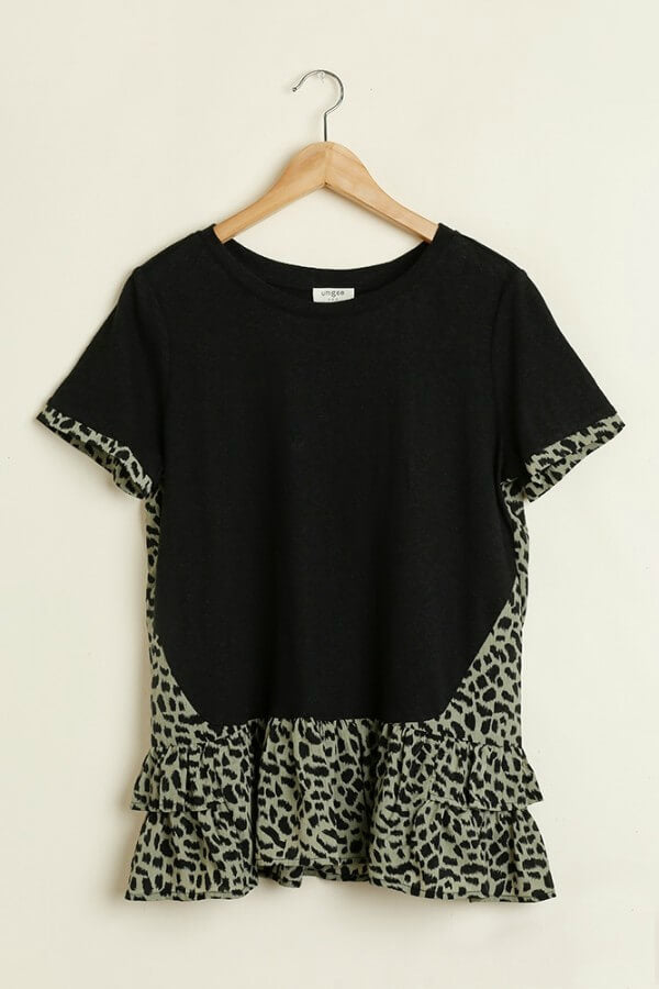 Umgee Black Tunic with Olive Animal Print Ruffles