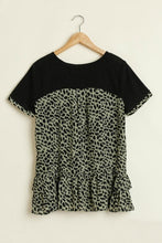 Load image into Gallery viewer, Umgee Black Tunic with Olive Animal Print Ruffles