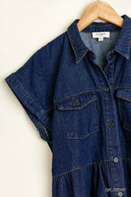 Load image into Gallery viewer, Umgee Dark Denim Dress with Frayed Hem