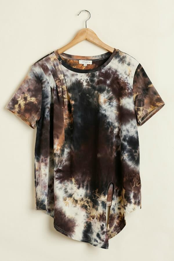 Umgee Golden Yellow Tie Dye Top with Front Knot