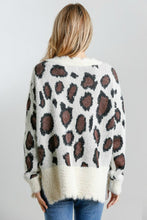 Load image into Gallery viewer, Umgee Cream Animal Print Sweater with Distressed Hem
