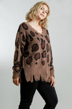 Load image into Gallery viewer, Umgee Mocha Animal Print Sweater with Distressed Hem