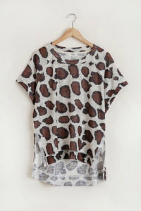 Umgee Latte Animal Print Shirt - June Adel