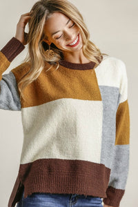 Umgee Mustard and Brown Mix Color Block Sweater