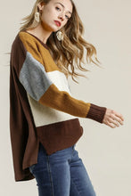 Load image into Gallery viewer, Umgee Mustard and Brown Mix Color Block Sweater