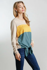 Umgee Stone Color Block Top with Front Knot