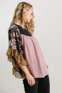 Umgee Black and Mauve Butterfly Top