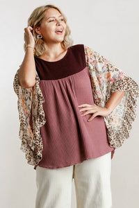 Umgee Wine and Berry Butterfly Top