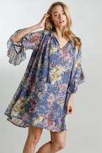 Load image into Gallery viewer, Umgee Steel Blue Floral Print Dress