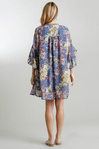 Umgee Steel Blue Floral Print Dress