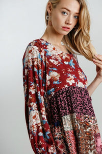 Online Boutique Umgee Burgundy Floral Print Dress