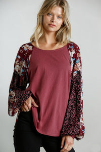 Umgee Dusty Rose Top with Floral and Animal Print Puff Sleeves