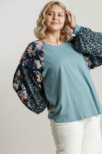 Umgee Dusty Mint Top with Floral and Animal Print Puff Sleeves