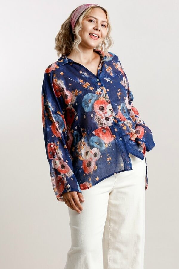 Umgee Sheer Cobalt Blue Floral Print Top