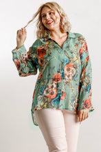 Load image into Gallery viewer, Umgee Sheer Sage Floral Print Top