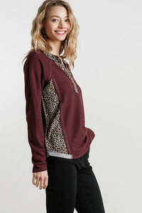 Umgee Burgundy Top with Leopard Print Trim