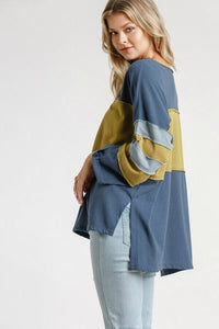 Umgee Indigo Color Block Top
