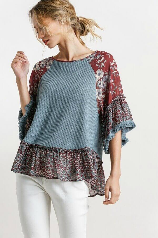 Umgee Dusty Blue Waffle Top with Floral and Animal Print