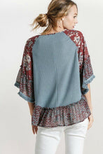 Load image into Gallery viewer, Umgee Dusty Blue Waffle Top with Floral and Animal Print