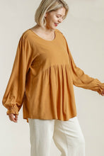 Load image into Gallery viewer, Umgee Mustard Babydoll Top with Puff Sleeves