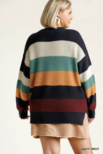 Load image into Gallery viewer, Umgee Navy and Mint Mix Sweater with Raw Edge Details