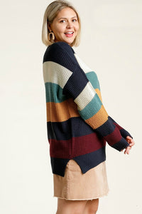 Umgee Navy and Mint Mix Sweater with Raw Edge Details