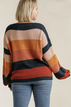 Load image into Gallery viewer, Umgee Forest and Mustard Mix Color Block Sweater