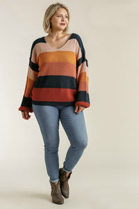 Umgee Forest and Mustard Mix Color Block Sweater