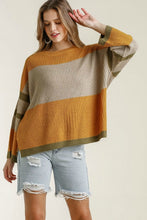 Load image into Gallery viewer, Umgee Color Block Sweater in Mustard