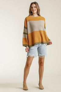 Umgee Color Block Sweater in Mustard