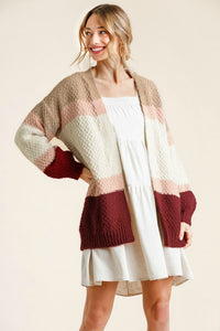 Umgee Tan and Raspberry Mix Cardigan