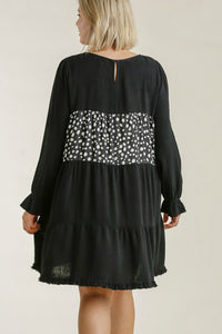 Umgee Dress with Dalmatian Print and Tiered Design