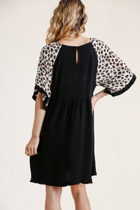 Umgee Black Dress with Animal Print Bell Sleeves